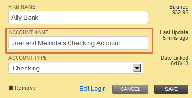 Personal Capital Linked Account Modified Name